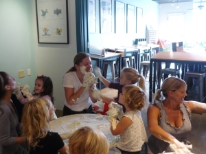 Everyone enjoying shaving cream at our Colors class
